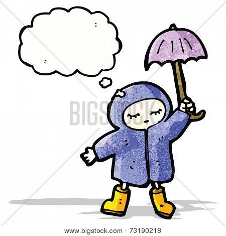 cartoon person in raincoat and umbrella