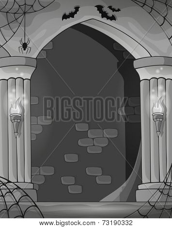 Black and white wall alcove - eps10 vector illustration.
