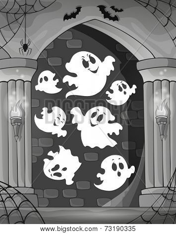 Black and white alcove and ghosts 1 - eps10 vector illustration.