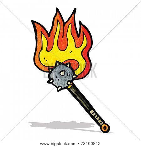 flaming mace weapon cartoon