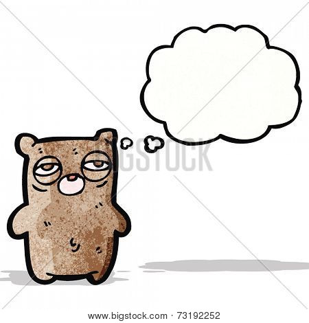 cartoon tired teddy bear