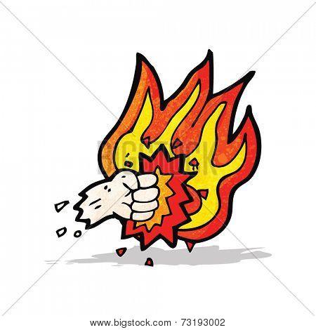 flaming fist punch cartoon