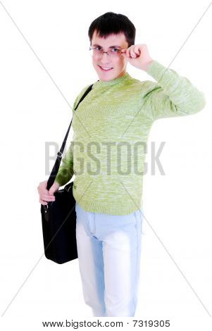 Student isolated on a white background.