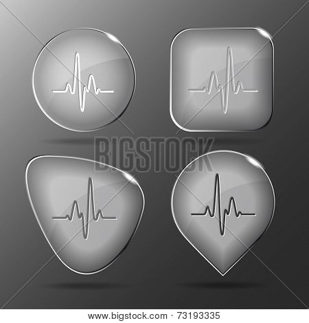 Cardiogram. Glass buttons. Vector illustration.