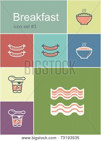 Breakfast menu food and drink icons. Set of editable vector color illustrations in Metro style.