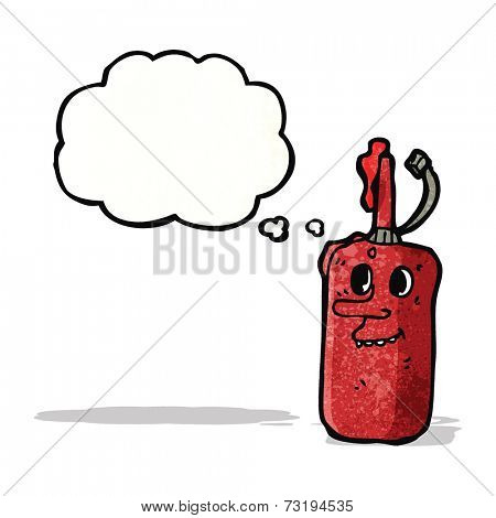 ketchup bottle with thought bubble cartoon