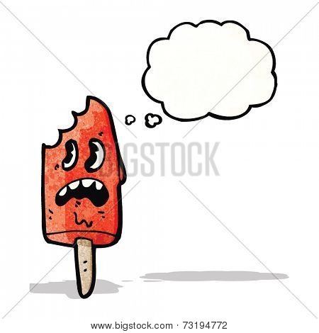 cartoon ice lolly character with bite