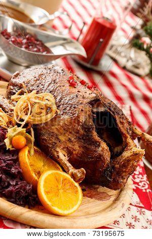 roasted duck on Christmas table