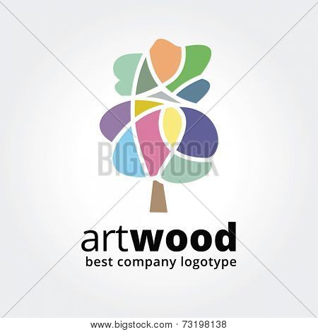 Abstract vector colored tree logotype concept isolated on white background. Key ideas is spa, beauty, design, nature, creative, health. Good for corporate identity and branding