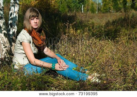 The Girl Has A Rest Outdoors