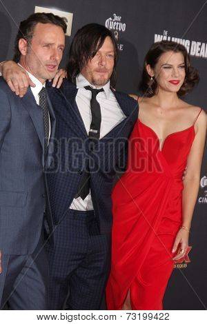 LOS ANGELES - OCT 2:  Andrew Lincoln, Lauren Cohan, Norman Reedus at the