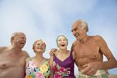 stock photo of bathing  - Group of seniors in bathing suits - JPG