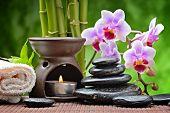 image of zen  - spa concept with zen basalt stones and orchid - JPG