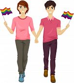 image of gay pride  - Illustration Featuring a Gay Couple Participating in a Gay Pride March - JPG