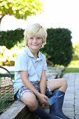 stock photo of 7-year-old  - Portrait of cute 7 - JPG