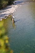 image of fly rod  - Upper view of fly fisherman fly - JPG