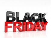 picture of friday  - 3d image of black friday text on white background - JPG