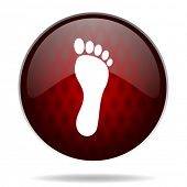 image of webbed feet white  - foot red glossy web icon on white background - JPG