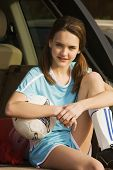 picture of pre-adolescent girl  - Young girl with soccer gear - JPG