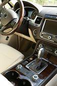 stock photo of steers  - Modern car interior - JPG