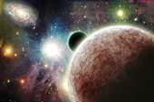 picture of space stars  - Planets in space with stars and galaxies - JPG