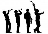 foto of trumpets  - Music man whit trumpet  on white background - JPG