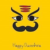image of ravana  - Illustration of Ravana face with big black moustache and eye brows on bright golden background with stylish text - JPG