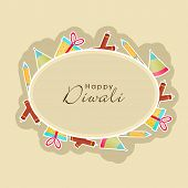 stock photo of diwali  - Poster for Diwali with Happy Diwali text in frame surrounded by colorful crackers and gifts - JPG