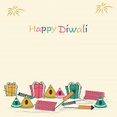 image of laxmi  - Illustration of colorful crackers and gifts pack with stylish text - JPG