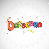 stock photo of dussehra  - Illustration of coloururful text Dussehra with small umberella on floral decorated grey background - JPG