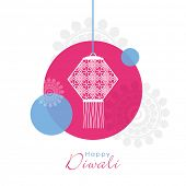picture of laxmi  - Illustration of a hanging lamp in circle on floral decorated background - JPG