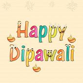 foto of laxmi  - Poster of Happy Deepawali text in childish style with illuminated  lit lamps - JPG