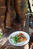 image of duck-hunting  - Simple appetizer with tomatoes and duck meat in hunting lodge - JPG