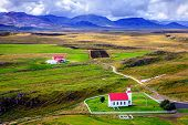 foto of iceland farm  - View to a small church and a farm from Helgafell Mountain in western Iceland - JPG