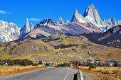 foto of snow capped mountains  - Famous rock Fitz Roy peaks in the Andes - JPG