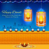 stock photo of ganpati  - illustration of hanging kandil in Diwali night - JPG