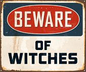 stock photo of witch  - Vintage Metal Sign  - JPG