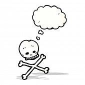 stock photo of skull crossbones  - cartoon skull and crossbones with thought bubble - JPG