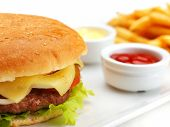 picture of hamburger-steak  - still life with fast food hamburger menu - JPG