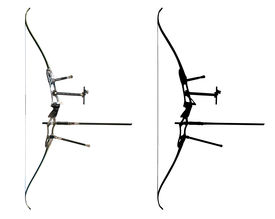 picture of fletching  - Sport bow isolated on white with contour - JPG