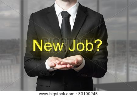 Businessma In Office Begging Gesture New Job