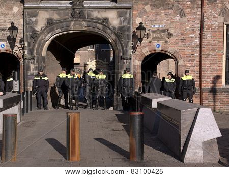 Police Officers Protecting Goverment Building