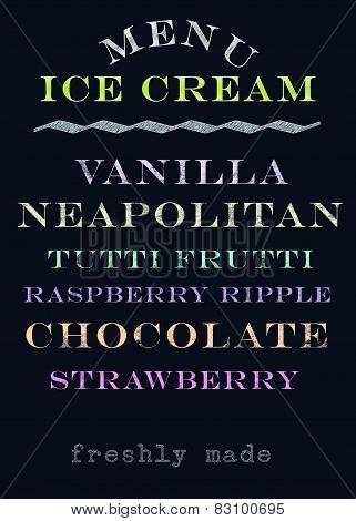 Hand Drawn Chalkboard Ice Cream Menu