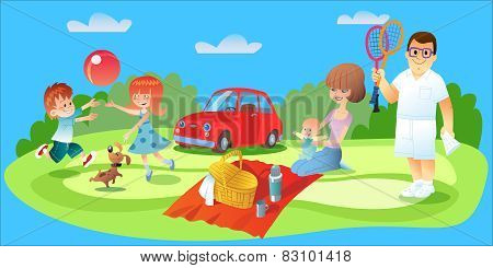Family picnic, father, mother and children car