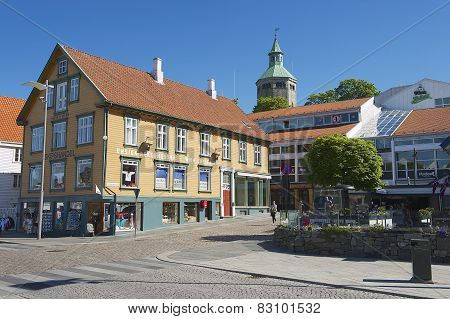 Exterior of the traditional wooden building in the downtown Stavanger in Stavanger,
