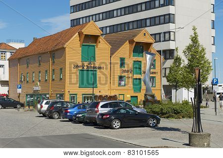 Exterior of the traditional wooden buildings in the downtown Stavanger in Stavanger