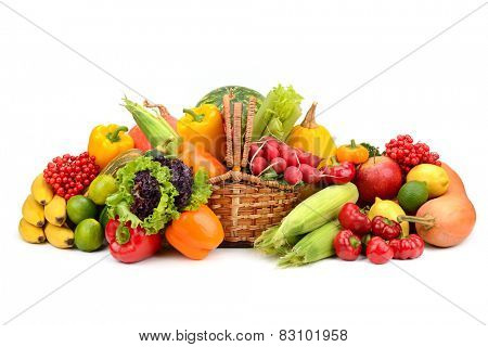 composition of fruits and vegetables in basket on white