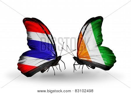 Two Butterflies With Flags On Wings As Symbol Of Relations Thailand And Cote Divoire