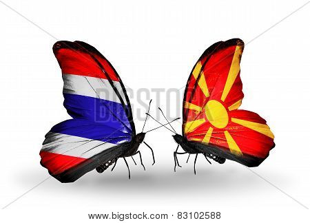 Two Butterflies With Flags On Wings As Symbol Of Relations Thailand And Macedonia