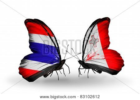 Two Butterflies With Flags On Wings As Symbol Of Relations Thailand And Malta